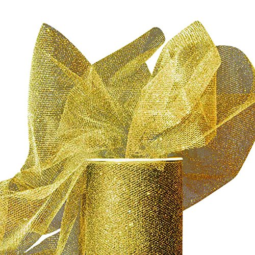 """Colored Gold Sparkling Tulle Roll 6"""" X 25yd - Fabric by Paper Mart"""