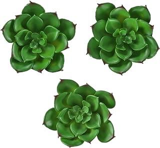Hogado 3 pcs Artificial Succulent Plants Realistic Miniature Cactus Echeveria Unpotted Home Kitchen Office Desk Wall Cabinet Terrarium Decor for Wedding Bouquets Green