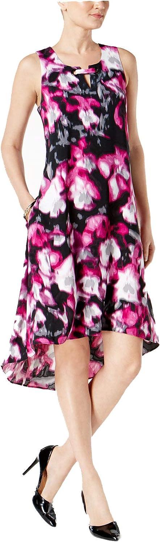 Alfani Womens Printed High Low Midi Dress