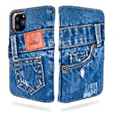 UK Trident Denim iPhone 11 Pro Wallet Case with Card Holder, Handmade from 11oz Jeans Denim with Credit Card Pockets and Stand Function, Japanese Denim Brand