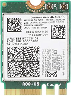 Bewinner Tarjeta de Red Inalámbrica de Doble Frecuencia,NGFF / M2 Interfaz, 802.11ac Protocolo de Soporte, 867 Mbps Alta Velocidad Tarjeta de Red Portatil de Double Banda para Intel 7260 AC