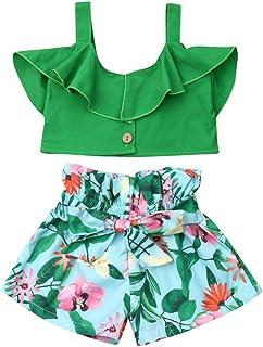 BULINGNA Ropa de Verano para niñas pequeñas, Cuello con Volantes, sin Mangas, Blusas y Pantalones Cortos con Lazo, diseño Floral