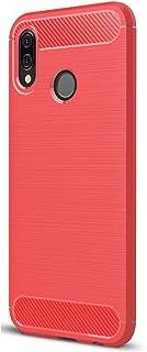 Huawei Nova 3e Ultra Slim Lightweight Carbon Fiber Design Flexible Soft TPU Shockproof Protective Back Cover - Red