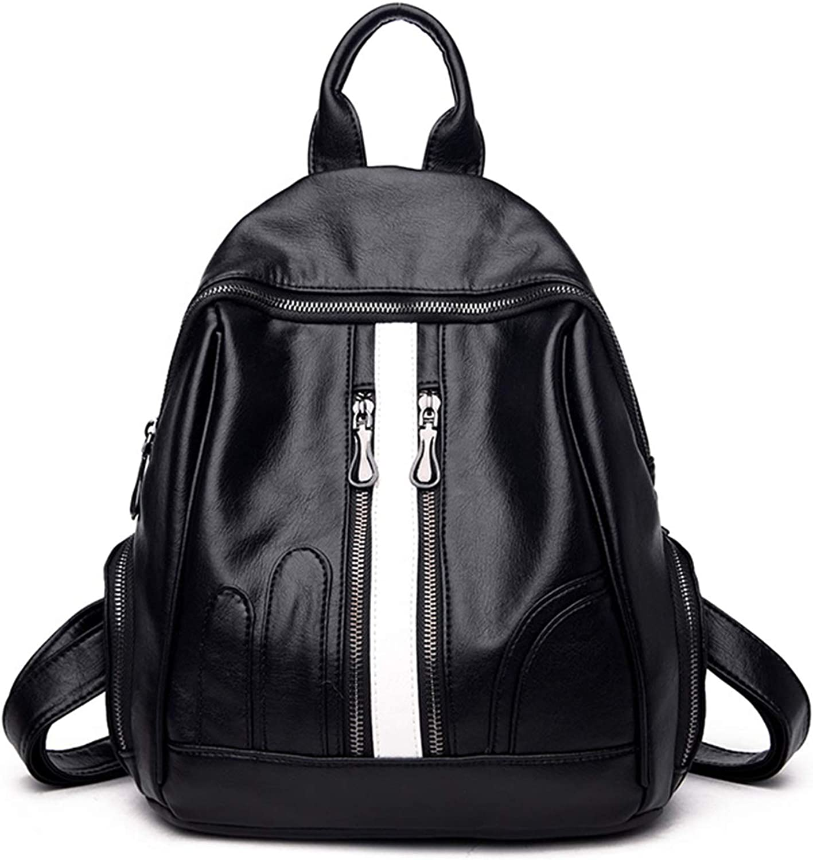 MiYi Designer Leather Backpack Purse for Women Fashion Rucksack Zipper Pockets PU Shoulder Bag Handbags Travel Casual