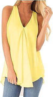VEMOW Cami Tops Camiseta con Cuello en V para Mujer Camiseta sin Mangas Chaleco de Verano Blusa Talla Grande