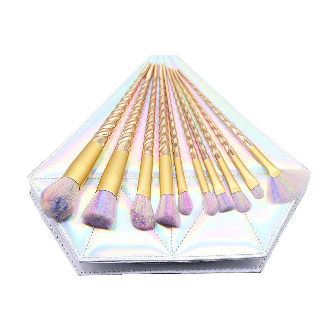 パットカブネックレットDilla Beauty メイクブラシセット 10本セット ユニコーンデザイン プラスチックハンドル 合成毛 ファンデーションブラシ アイシャドーブラッシャー 美容ツール 化粧品のバッグ付き