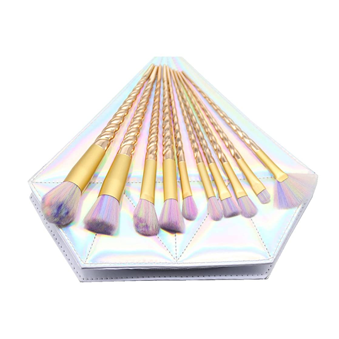 不安しばしばコントロールDilla Beauty メイクブラシセット 10本セット ユニコーンデザイン プラスチックハンドル 合成毛 ファンデーションブラシ アイシャドーブラッシャー 美容ツール 化粧品のバッグ付き