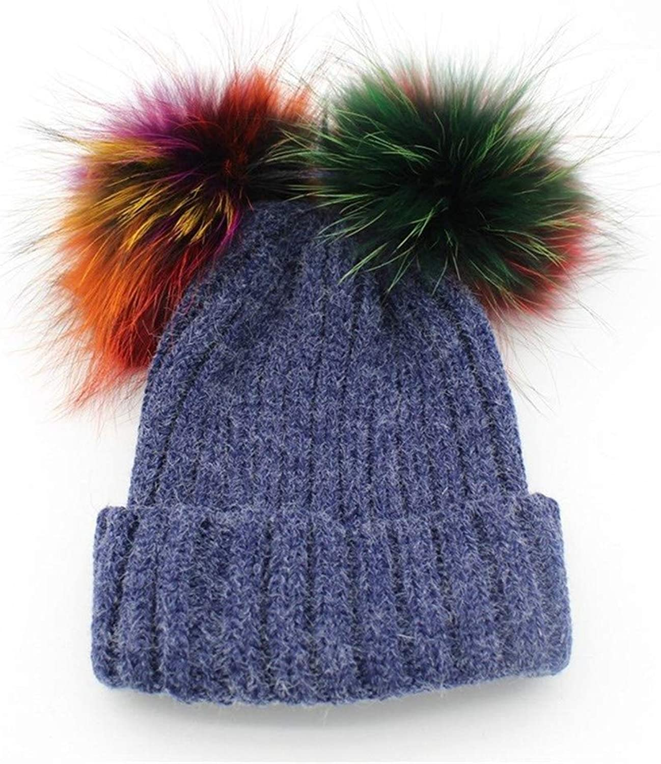 Women's Knitted Hat Autumn Winter Thickened Warm Soft Pompom Cap for Young Girls (color   bluee)