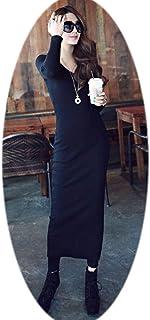 Thread Long Sleeve Dress Version The Step Skirt Bag Hip Black Skirt,Reverse,Dark