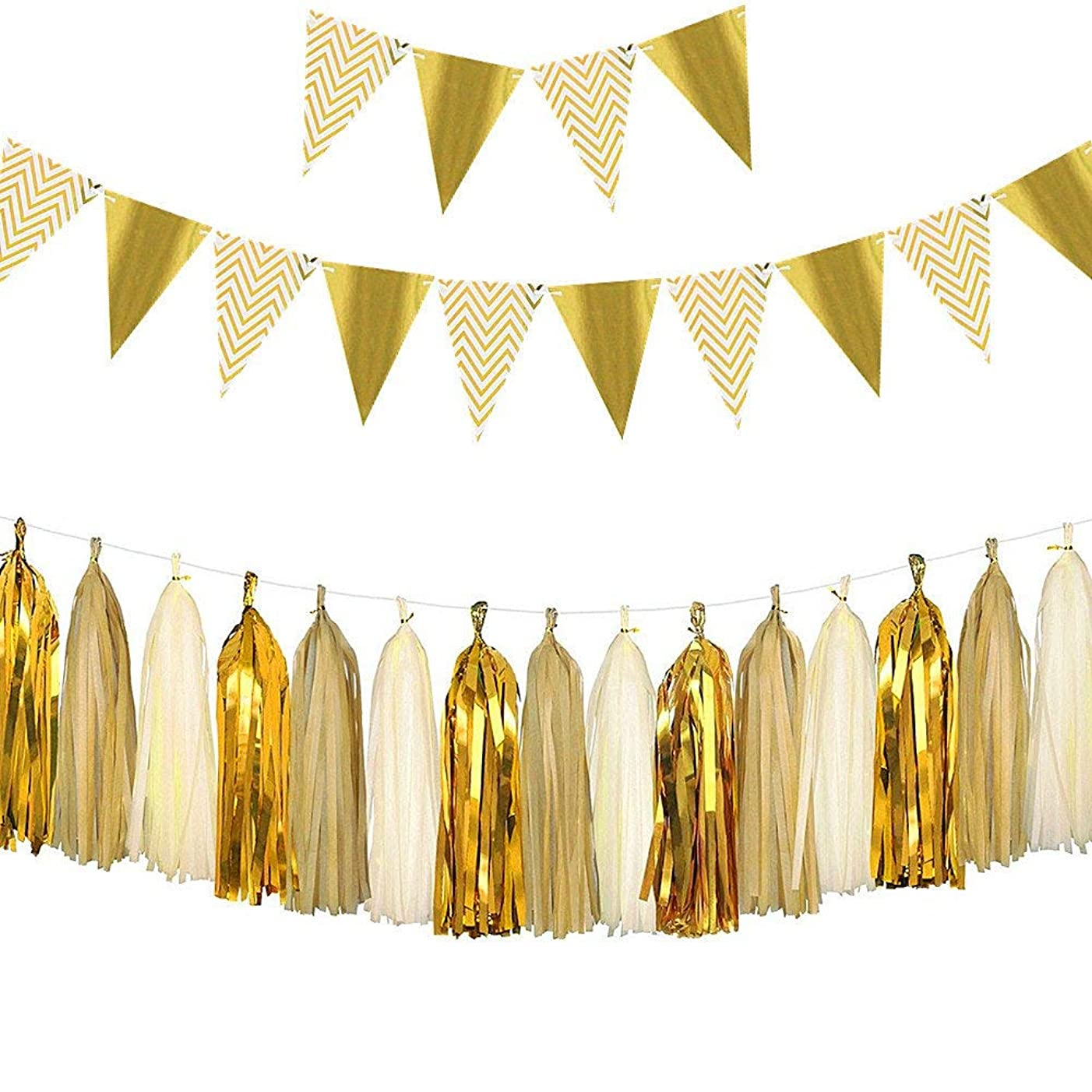Sparkly Paper Pennant Banner Triangle Flags Bunting 8.2 Feet and Tissue Paper Tassels Garland 15 pcs for Baby Shower, Decorations Set for Birthday Party, Metallic Gold