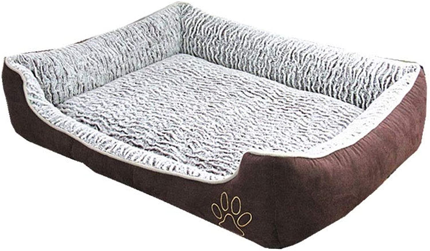 Alapet pink Velvet Wave Pattern Four Seasons Universal Kennel, Breathable and Not Wrinkle Dog Bed,Removable Dog Pad, Soft and Comfortable, Three-Dimensional PP Cotton Padding, Clean and Hygienic