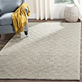 Safavieh NAT503A-8 Natura Collection Handmade Premium Wool & Cotton Area Rug, 8' x 10', Ivory/Light Grey