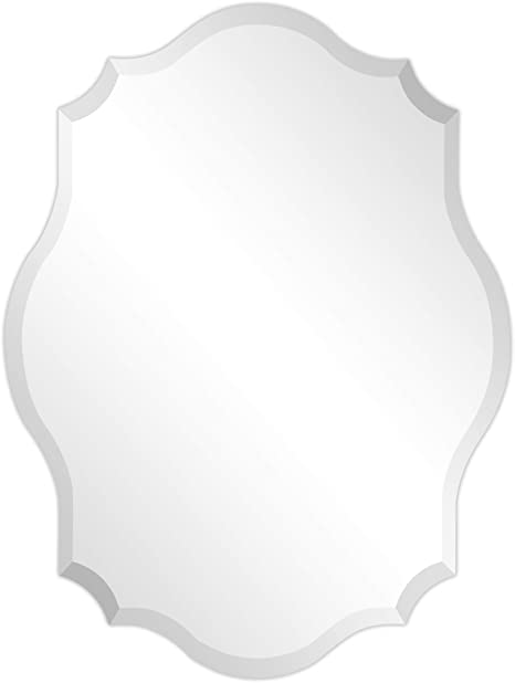 Amazon Com Empire Art Direct Modern Frameless Oblong Scalloped Wall Mirror For Vanity Bathroom 1 Beveled Edge Ready To Hang 24 In X 0 39 In X 32 In Clear Everything Else