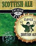 TELA-ARROTOLATA.Knold-Donna-Cm_60_X_47-Scottish-Ale-crema-gialla-verde-marrone-birra-nera-scozzese-tappo-ale-tappo-della-bottiglia-di-alcol,-spiriti-cucina,-Soggetto-Cucina-per-arredo-parete-Stampa-s
