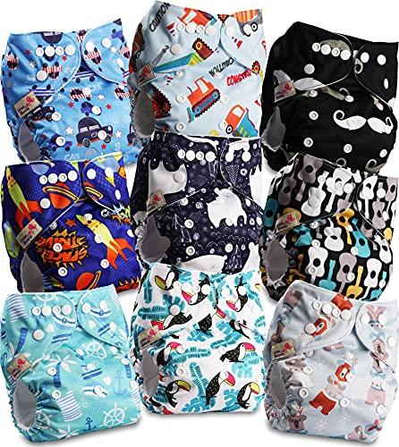 Littles and Bloomz FLP2-0906 - Pañal de tela reutilizable para bebé, 9 pañales