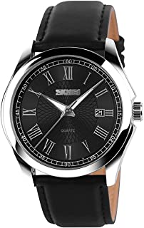 Men's Classic Quartz Wrist Watch,Roman Numeral Business Watch Casual Analog Watches Waterproof with Leather Band