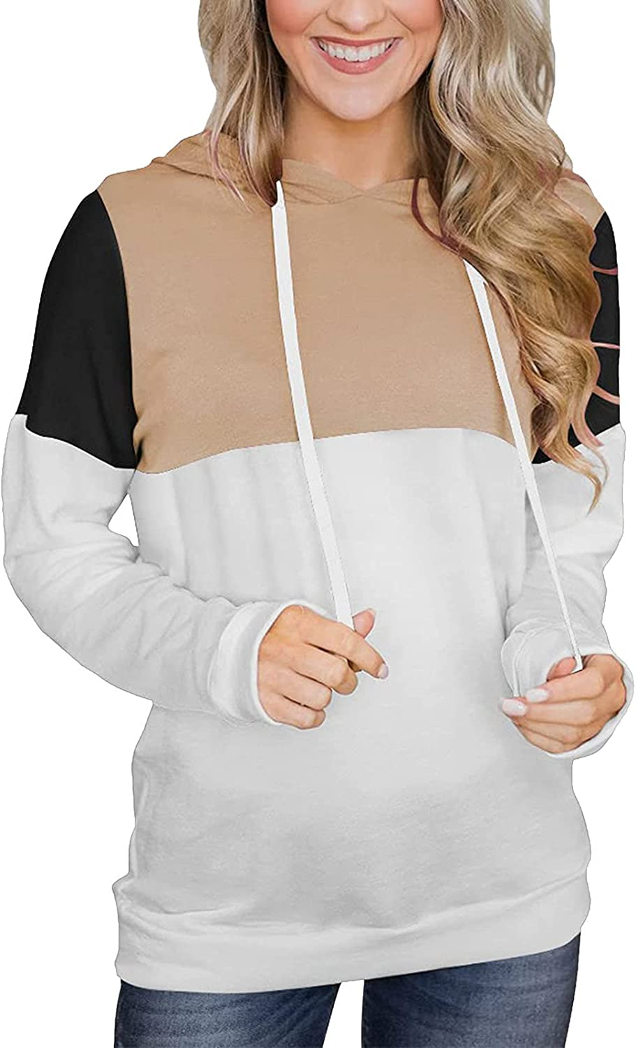 Women's Casual Color Block Hoodies Basic Long Sleeve Lightweight Pullover Loose Drawstring Sweatshirt with Pocket