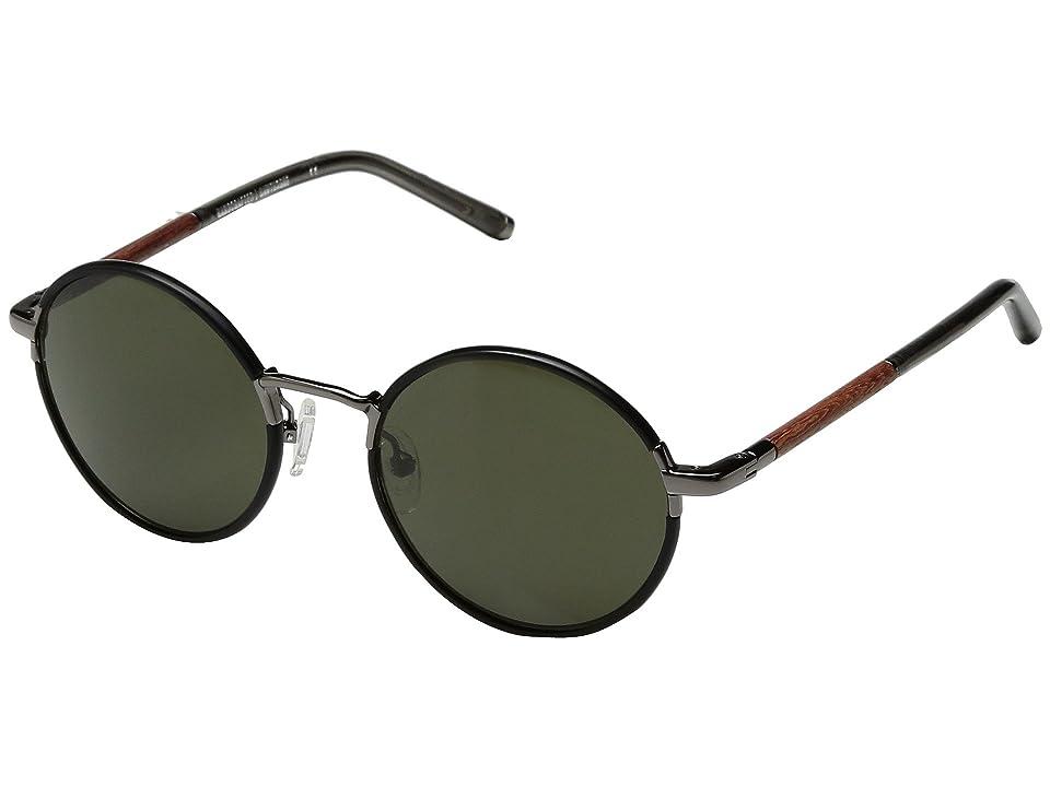 Shwood Hawthorne Acetate Wood (Black Chrome/Mahogany/G15) Athletic Performance Sport Sunglasses