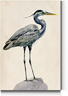 Abstract Wall Art, Wall Décor Canvas, Animals, Flowers, Coastal, Geometric, and Vibrant Colors, Ready to Hang - Blue Heron I 12X18