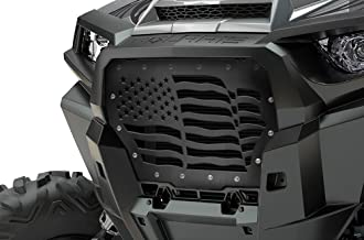 300 Industries Steel Grille Replacement for Polaris RZR Turbo 1000 XP 2017-2018 - Single Piece Powder Coated Satin Black - American Flag