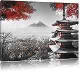 Pixxprint Japanischer Tempel im Herbst Schwarz/Weiß,
