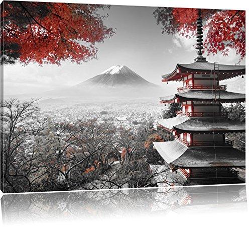 Pixxprint Japanischer Tempel im Herbst Schwarz/Weiß, Format: 120x80 auf Leinwand