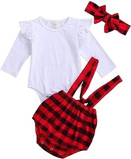 3 قطع ملابس عيد الميلاد للأطفال فتاة عيد الميلاد سانتا تونك تي شيرت بلايز اللباس والسراويل الضيقة المخطط مع وشاح عيد الميلاد