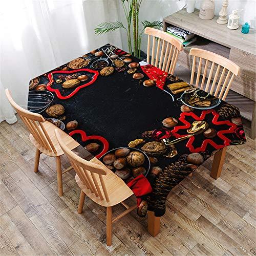 DOTBUY Christmas Table Cloths Rectangular Christmas Tablecloths Table Cloth Washable Cloth Fabric Xmas Table Cloth Protector Table Cover Home Decoration (Cookie mold,140x160cm)