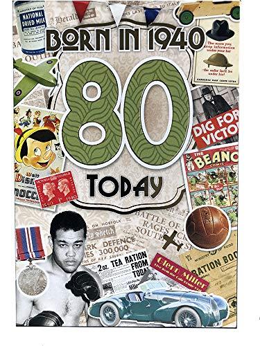 Biglietto Di Auguri Per 80° Compleanno Maschile (CO-YA224) – 1940 Year You Were Born Biglietto Di Auguri Per Lui Con Fatti All'Interno, 80 Anni – Attraente Finitura Laminata