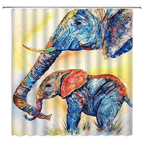 Elefanten-Duschvorhang Vintage abstrakte bunte Elefanten Mutter & Baby Familie Ölgemälde indisches Tier blau orange Stoff Badvorhänge Badzubehör Polyester mit Haken 177 x 178 cm