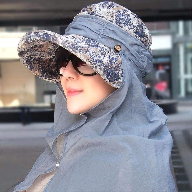 HVTKL Hat weiblichen Sommerstrandhut schwarze Kappe die zervikale Kappe Sonnenlicht-Radsportkappen Hüte HVTKL (Farbe   The Blau)