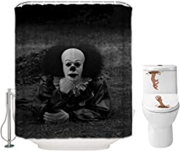 Halloween Shower Curtain Set for Bathroom- IT Pennywise The Dancing Clown Scary Killer, Horror Movie Themed Holiday Polyester Fabric Decoration with Hooks and Toilet Stickers, Halloween Decor 72x72