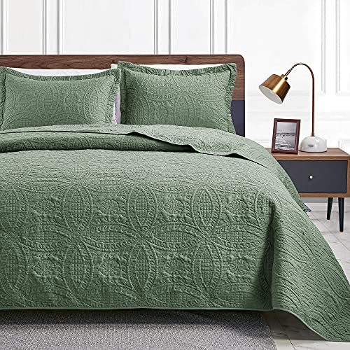 Love's cabin Twin Quilt Set Olive Green Bedspreads - Soft Bed Summer Quilt Lightweight Microfiber Bedspread- Modern Style Coin Pattern Coverlet for All Season - 2 Piece (1 Quilt, 1 Pillow Sham)