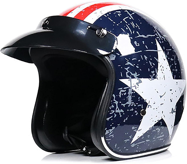 Motorcycle Half Abierto Helmet,Adult Vintage Jet Motorcycle Helmet Men Women Half Face Abierto Motorbike Helmet for Biker Chopper Cruiser Scooter Moto Cap ECE Approved D,XXL=61~62cm