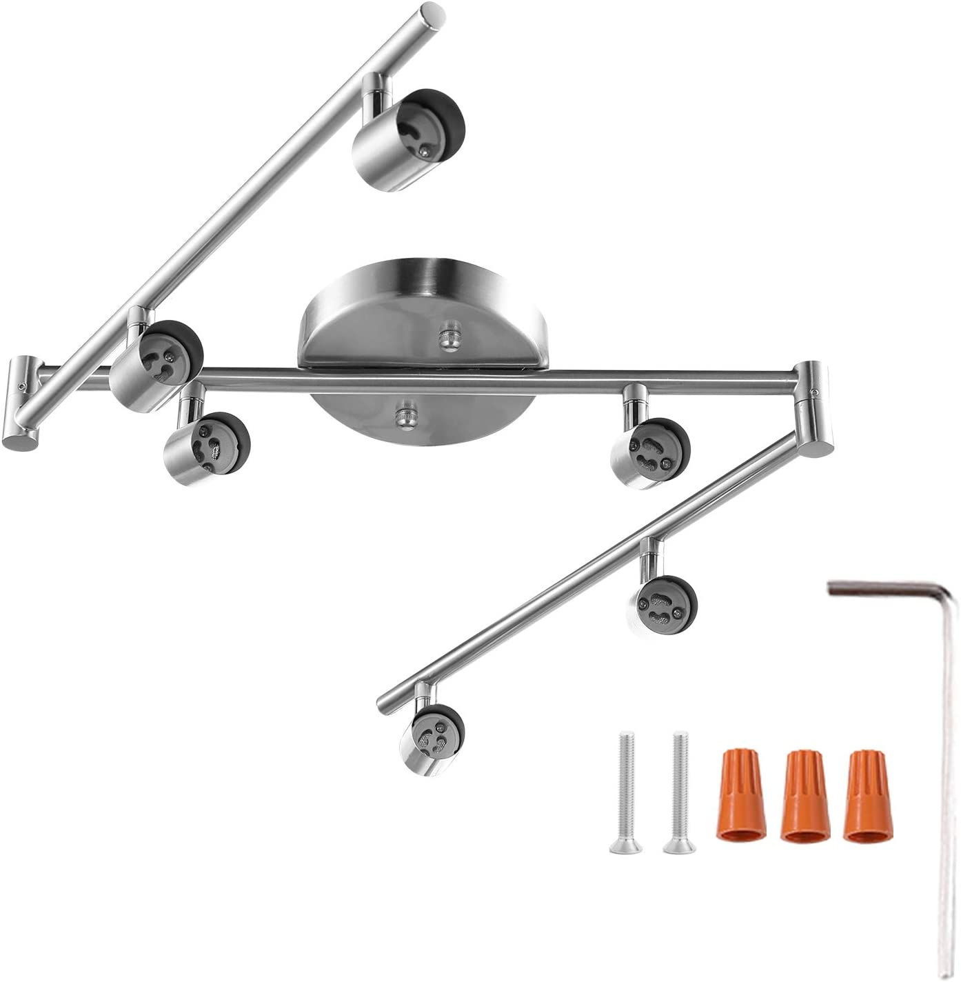 6-Light Adjustable Dimmable Track Lighting Kit by AIBOO,Flexible Foldable Arms,Satin Nickel Kitchen,Hallyway Bed Room Lighting Fixture, GU10 Base Bulbs not Included