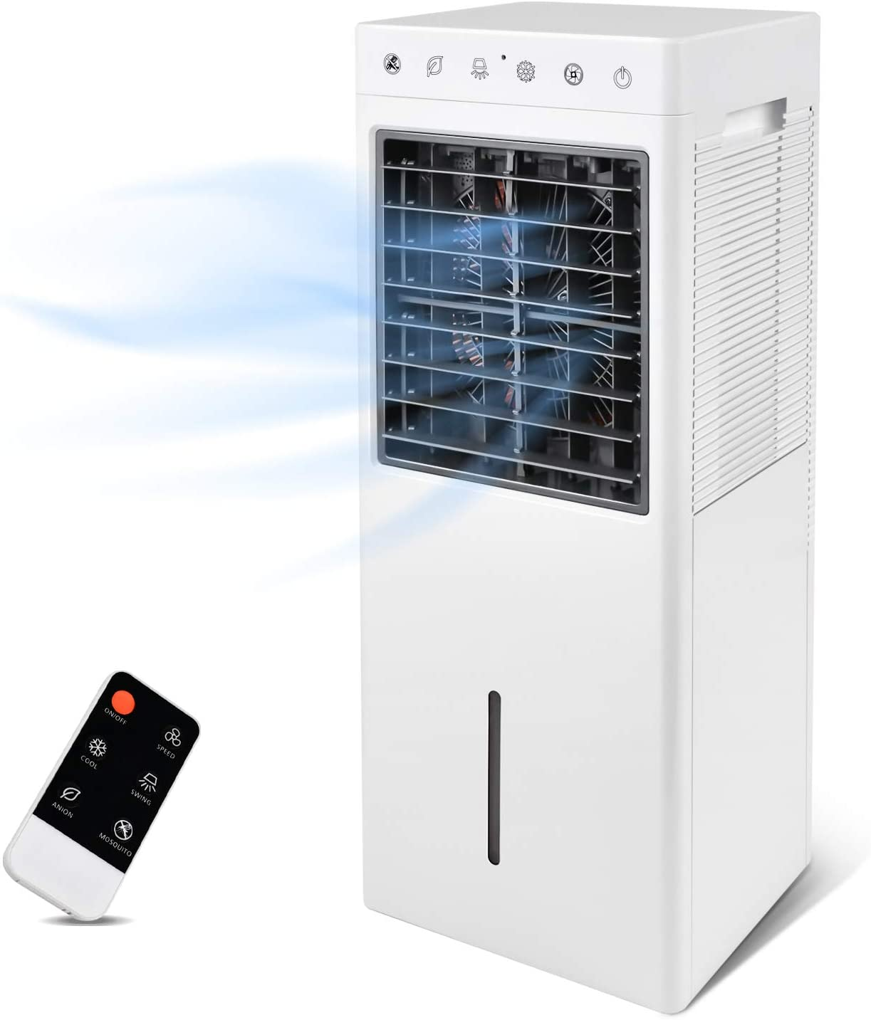 Simple Deluxe 30'' Evaporative Air Cooler Fan with Humidification, Repellent and Anion Function, 2 Gallon Water Tank, 3 Speeds Setting, Remote Control, White
