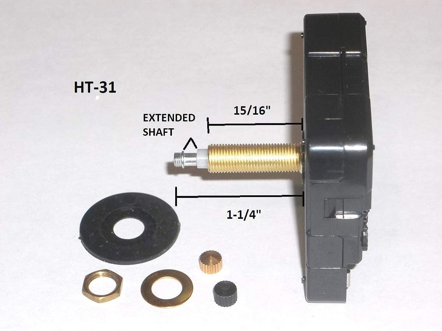 High Torque Quartz Clock Movement (Silent) w/Extended Shaft (for Long Hands), Extra Long Shaft, 15/16