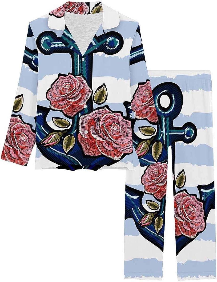 InterestPrint Women's Pajamas Set Long Sleeve with Long Pants XS-XXL Exotic Anchor and Pink Roses