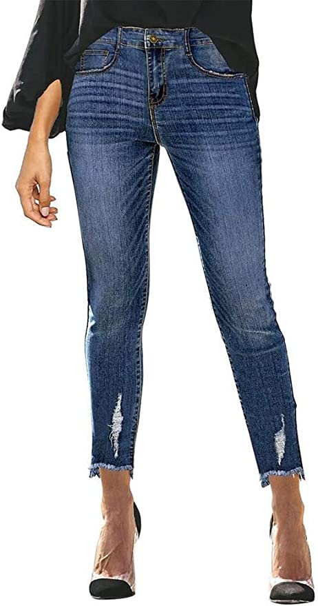 12 opinioni per ORANDESIGNE Jeans Donna A Vita Media Eleganti Denim Pantaloni Slim Fit Skinny