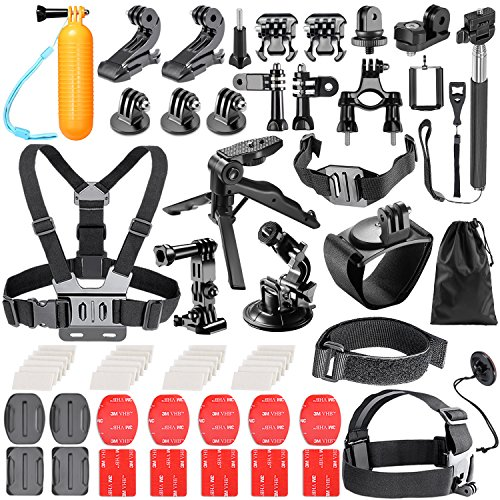 Neewer 62-in-1 Kit di Accessori per GoPro Hero 6 5 4 3 + 3 2 1 Hero Session 5 Black AKASO EK7000 Apeman SJ4000 5000 6000 DBPOWER AKASO VicTsing WiMiUS Rollei QUMOX Lightdow Campark e Sony Sports DV