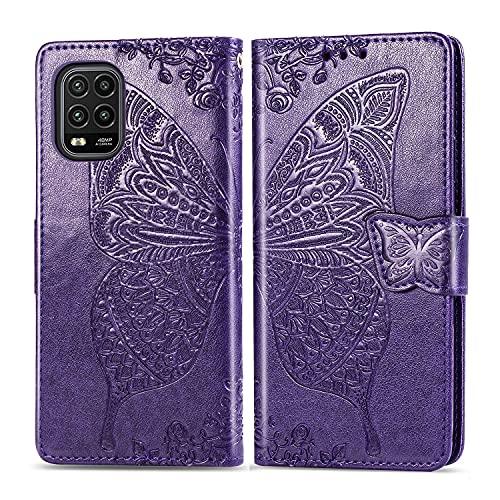 YANCAI Funda Protectora Caja de la Billetera para Xiaomi MI 10 Lite 5G, a Prueba de Golpes Flip Billetera Cartera de la Cartera/Correa de muñeca/Funda Floral Butterfly Patrón de la Mariposa