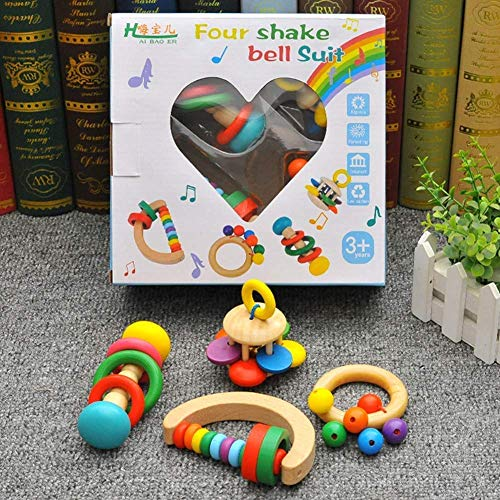 Hölzerne Baby Rasseln Glocke Glocke Krippe Bell Orff Musical Instruments Frühbild Puzzle Spielzeug Vier Rasseln, Farbe: Vier Rasseln (Farbe: Vier Rasseln) (Farbe: 5 Rasseln) Manmiao
