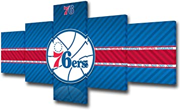 Native American Decor Philadelphia 76ers Logo Posters and Prints on Canvas NBA Paintings Basketball Pictures Modern Artwork Home Decor for Living Room Framed Gallery-wrapped Ready to Hang -50''Wx24''H