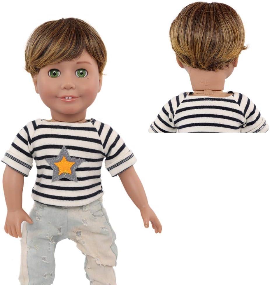 White Short Hair Little Boy Doll Wig MUZI Doll Wigs for 18 American Dolls