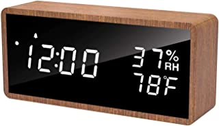 meross Digital Alarm Clock for Bedrooms, Real Wood, LED Display Desk Clock, Time Temperature Humidity, 3 Sets of Alarms, A...