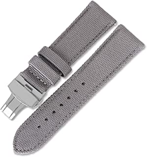 Premium Canvas Nylon Genuine Leather Strap Bracelet Double Press Butterfly Buckle Watch Band for Men's Sports Military Acc...
