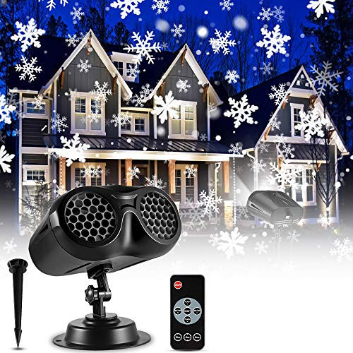 Christmas Snowflake Projector Lights Outdoor, ECOWHO Upgrade Binocular Rotating Snowfall LED Light Projector with Remote Control, Waterproof Landscape Lights for Xmas Halloween Holiday Party