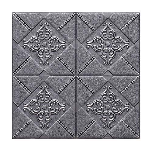 WHAIYAO 3D Brick Wallpaper Self Adhesive Wall Stickers PE Foam Wall Panel Tile DIY Wall Adornment For Living Room Office, 5 Colors, 2 Styles (Color : Silver gray#A, Size : 60X60X0.6CM-5PCS)