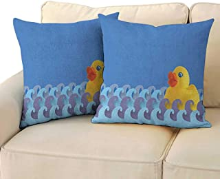 Ediyuneth Spring Throw Pillow Cushion Cover Rubber Duck,Rubber Duck Floating on Paper Seem Water Waves Bathroom Time Childcare Image, Multicolor 18