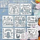 BUZIFU 8 Pezzi Pasqua Stencil da Disegno Stencil Bambini Disegnare Pasqua Stencil di Pittura Riutilizzabile Set di Stencil Decorazioni Pasquali Stencil Bambini Fai da Te Forniture per Feste di Pasqua